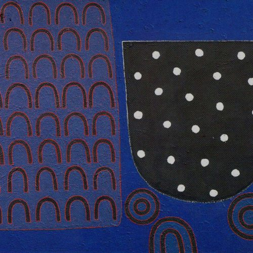 'Forty Days and 22 Nights' 1997 Acrylic & Mixed Media on canvas 60.9 x 76.2 cm by Brian Rice