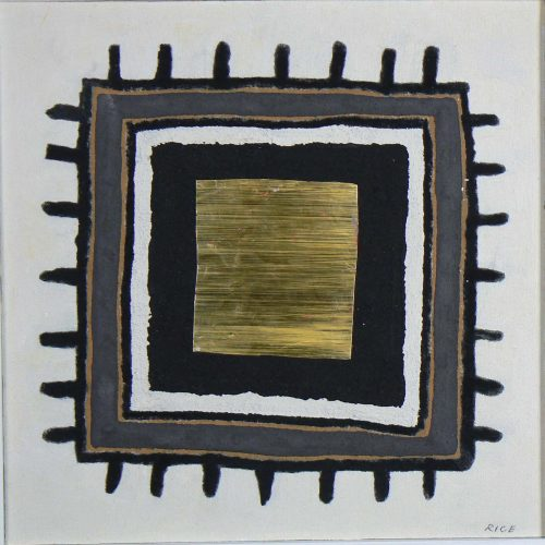 'Goldhalla' 2010 Acrylic & mixed media on canvas on board 30.5 x 30.8cm by Brian Rice