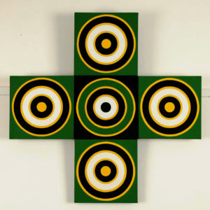 'Green Cross' 1964 Oil on 5 Canvases. 958 x 959 cm by Brian Rice