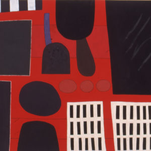 'Red Sightline' 1997 Gouache and Mixed Media on paper 55.8 x 76.2 cm by Brian Rice