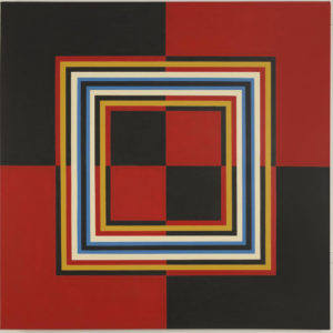 'Red and Black Quartered 1968 Acrylic on canvas 120.8 x 120.8 by Brian Rice